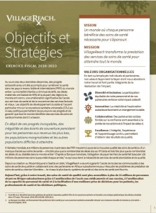 A screenshot of page one of VillageReach's Goals & Strategies in French.